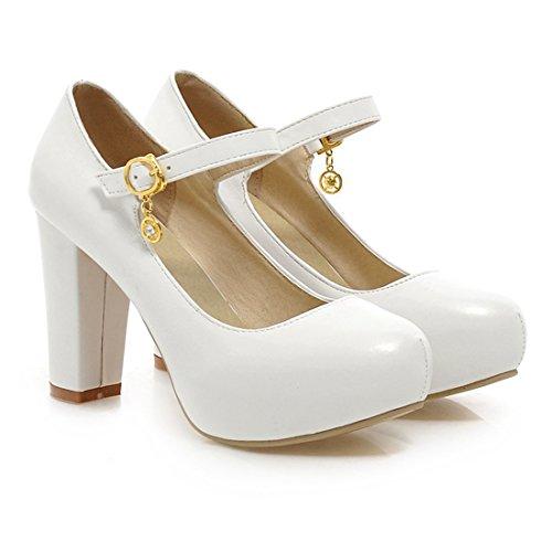 YE Damen Mary Jane Ankle Strap Pumps Rockabilly Blockabsatz High Heels Plateau mit Riemchen und 9cm Absatz Elegant Schuhe Weiß
