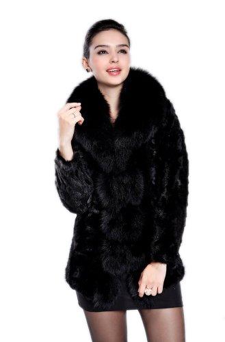 Black Mink Jacket (Queenshiny Women's 100% Real Mink Fur Coat Jacket with Super Fox Collar-Black-S(4-6))