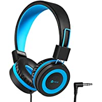 iClever Kids Headphones Over Ear, Safe Wired Kids Headsets, 94dB Volume Limited, 3.5mm Aux Jack, Children Headphones for Kids, Blue