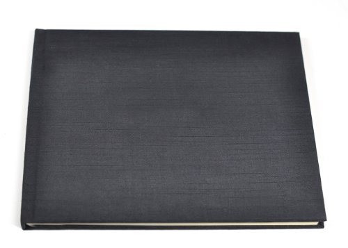 Ribbon Bound Guest Book - Unlined Guest Book or Memory Book with Blank Pages - Black Satin