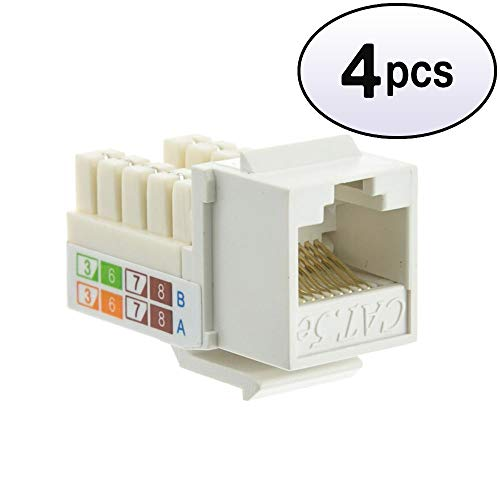 GOWOS (4 Pack) Cat5e Keystone Jack, White, RJ45 Female to 110 Punch Down