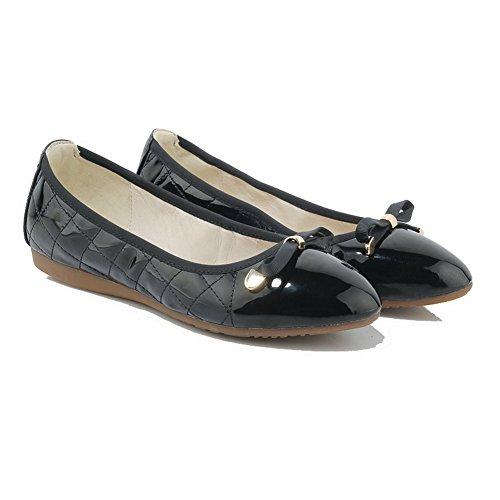 VogueZone009 Femme Rond Tire Verni Couleur Unie Non Talon Chaussures à Plat Noir 28Sse1x4