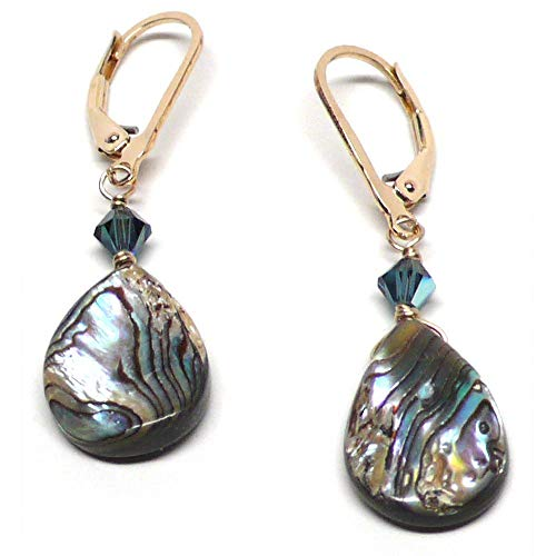 - Abalone Teardrop Lever Back Earrings Gold-Filled Swarovski Crystal