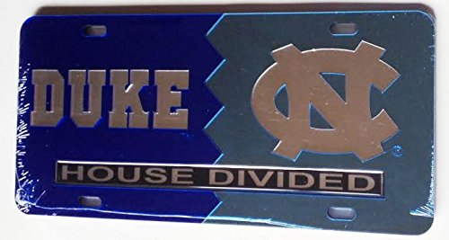 Duke Blue Devils - UNC Tar Heels - House Divided Mirrored Car Tag License Plate Duke House Divided