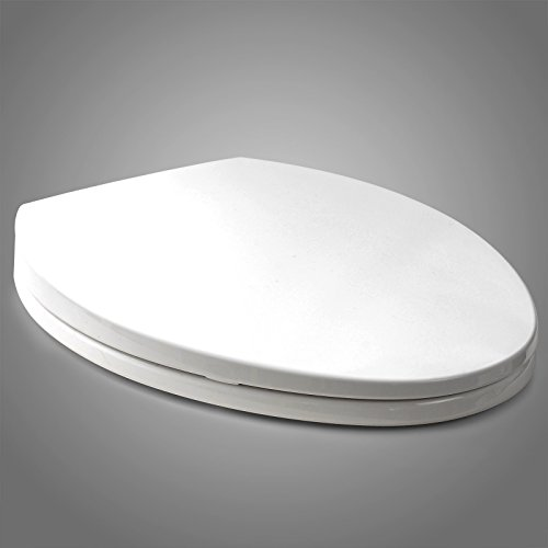 Woltu ATSP1002whi Toilet Seat Elongated Fast Releasing Slow Closing toilet seat with Cover size 16.6-18.5x14.3 inch Whisper Close Hinges White with Ein Knopfdruck-system (Close Slow Elongated Seat Toilet)