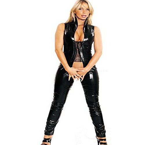 FASHION QUEEN Women's Sexy Wet Look Lace up Catsuit Open Crotch (3XL, Black) ()