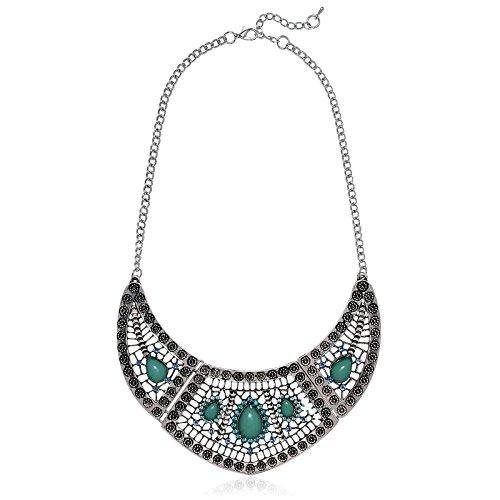 Drop Cubic Zirconia Beads Pendants (Knsam Pendant Necklace For Women Crystal Waterdrop Beads Choker Chunky Silver Green)