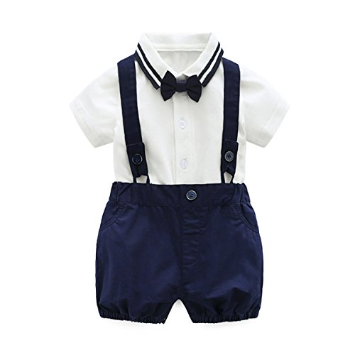 Baby Boys Gentleman Outfits Wedding Suits, Infant Short Sleeve Shirt+Bib Pants+Bow Tie Overalls Clothes Set by Boarnseorl (Image #7)