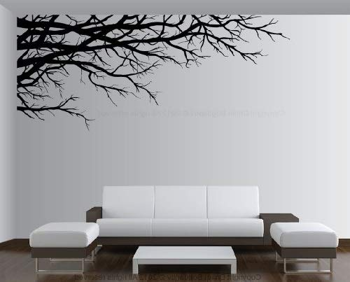 """Vinyl Wall Art Mural Decal Tree Top Branches 67""""(w) X 28 1/2""""(h) Left to Right (Black)"""