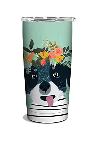 Studio Oh! 17 oz. Insulated Stainless Steel Commuter Tumbler Available in 4 Different Designs, Mia Charro Fancy Flower Dog