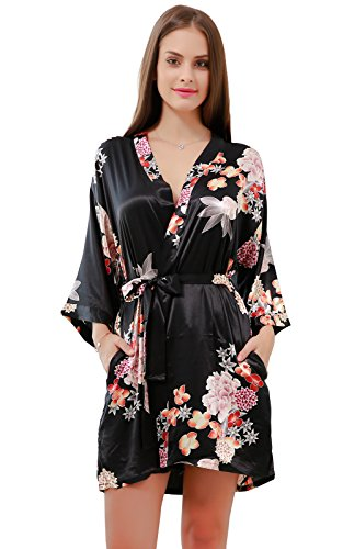 GoldOath Women's Floral Silk-Like Kimono Robes for Bride and Bridesmaid Wedding Party Gifts,with Side Pockets Black