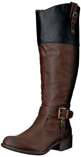 Rampage Women's Ivelia Fashion Knee High Casual Riding Boot, Dark Brown/Black Wide Calf, 9.5 M US ()
