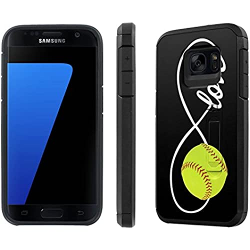 Galaxy [S7] [5.1 Screen] Defender Hybrid Case [SlickCandy] [Black/Black] Dual Layer Protection [Kick Stand] [Shock Proof] Phone Case - [Love Softball] for Sales