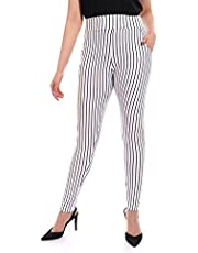 Women Sweatpants - WHITE With Lines