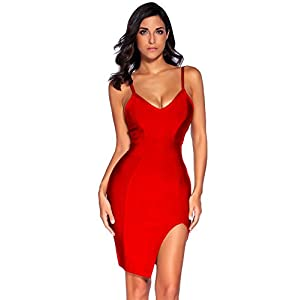 meilun Womens Deep V Neck Strappy Splitting Club Party Bandage Dress