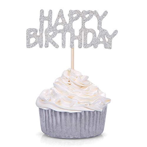 Pack of 24 Silver Glitter Happy Birthday Cupcake Toppers Kid's Birthday Party Celebrating Decors