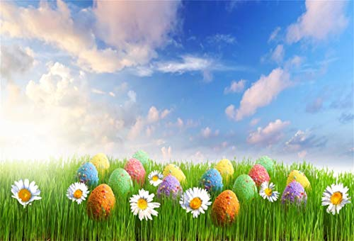 LFEEY 10x8ft Easter Backdrop Painted Eggs Photography Background Spring Flowers Green Meadow Kids Easter Photobooth Easter Home Photography School Events Video Church Activity Props