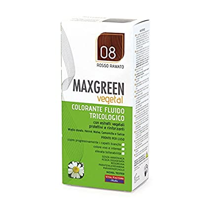 MAXGREEN vegetal colorante líquido tricologico N ° 8 Rojo Cobrizo 91 ml