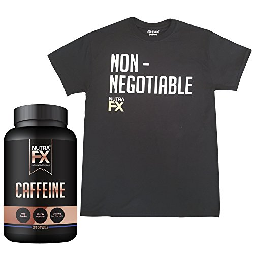 NutraFX Caffeine Pills 200mg | With Gildan G8000 Black XL T-Shirt | Double Strength Energy and Focus Natural Stimulant 100% Pure Anhydrous Caffeine Powder (200 (G8000 Series)