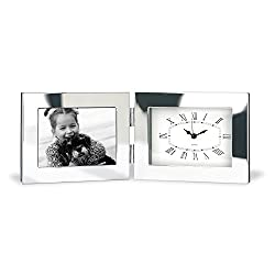 Marketing Innovations Intl Time Frame, Fold-up Desk Clock and 4 x 6 Photo Frame, AA Battery Included, Silver