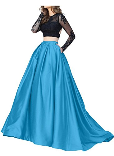 Prom Piece CU016 Lace Sleeves with Cutiebridal Dress Evening Cocktail Blue Two Illusion qw7WxnHvtI