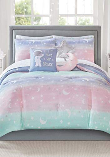 Pastel Rainbow Stardust Moon & Stars Girls Colorful Reversible Full Comforter Set (8 Piece Bed in A Bag) + Homemade Wax Melts
