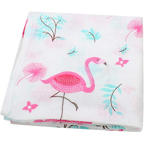 LifeTree Muslin Swaddle Blankets - Flamingo Print Bamboo Cotton Soft Baby Baby Boy and Girl Muslin Blanket