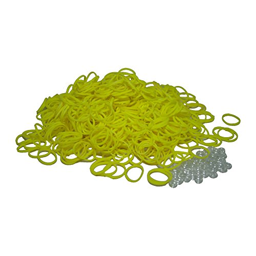 BlueDot Trading 600-Piece Do-It-Yourself Bracelet Kit Refill Pack, Includes Rubber Band and S-Clips for Loom Art/Kids Craft with Rainbow, Yellow by Bluedot Trading