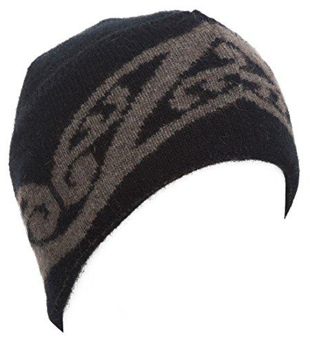 New Zealand Wool/Brushtail Possum Blend Fur Koru design Hat Black/Bark (Koru Design)