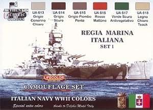 Set colores camuflaje LifeColor CS15 ITALIAN NAVY WWII SET1 REGIA MARINA ITALIANA