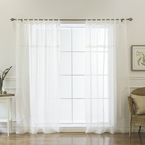 Best Home Fashion Sheer Voile Tab Top Curtains - White, 52