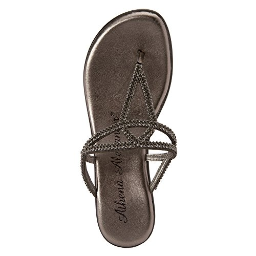 Athena Alexander Womens Kaylenn Leather Open Toe Casual T-Strap Sandals Pewter LxnnWSee3t