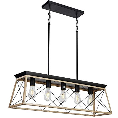 (DEARLAN Rectangular Chandelier Farmhouse Chandeliers Rustic Metal Modern Linear Island Ceiling Lighting Fixture Industrial Pendant Lights for Dining Room Kitchen Living Room L37.4