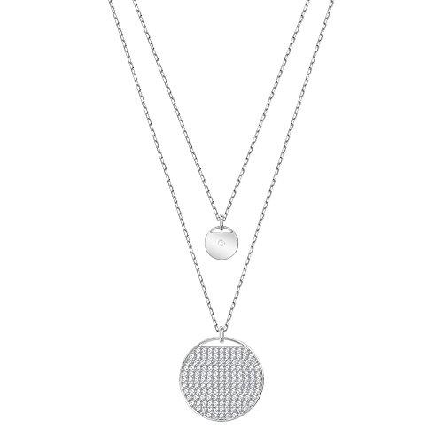 Swarovski Crystal Ginger Rhodium-Plated Layered Pendant Necklace (Circles Swarovski Pave Necklace)