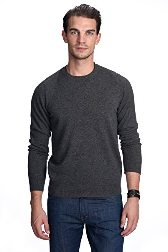 Cashmere Ribbed Crewneck Sweater - State Cashmere Men's 100% Pure Cashmere Long Sleeve Pullover Crew Neck Sweater (Medium, Charcoal)
