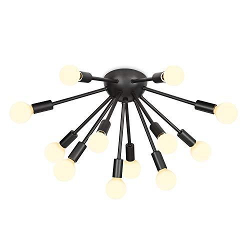 Black Sputnik Flush Mount Light - Mid Century Modern Ceiling Fixture, 12 Sockets, Matte Finish, Dimmable, Fits E12 Bulbs, ETL Listed
