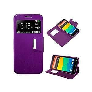 Funda Cuero Piel para Alcatel One Touch Pop C1 Lila con Soporte e Identificador de Llamada