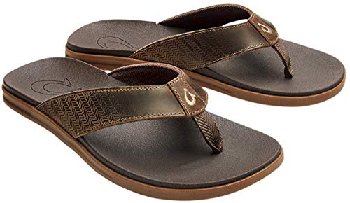 (OLUKAI Men's Alania Sandals, Mustang/Dark Wood, 13 M US )
