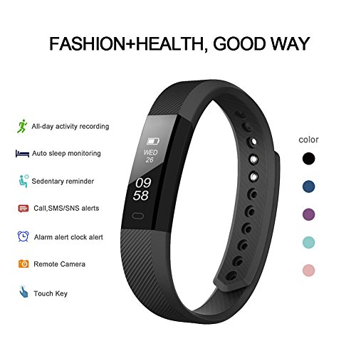 Fitness Tracker, LETSCOM Fitness Tracker Watch with Slim Touch Screen and Wristbands, Wearable Activity Tracker as Pedometer Sleep Monitor,Pink for Android and iOS