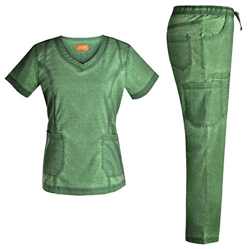 Stretch Nursing Medical Uniform Scrub Set - Nursing Women Scrubs JS1604 (Green, XXL)