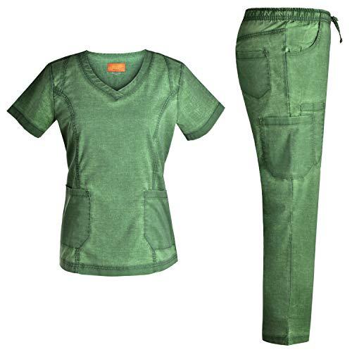 (Stretch Nursing Medical Uniform Scrub Set - Nursing Women Scrubs JS1604 (Green, XXL))