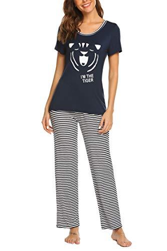 Hotouch Women's Printed Pajamas Two Piece Cartoon Pajama Pants Set