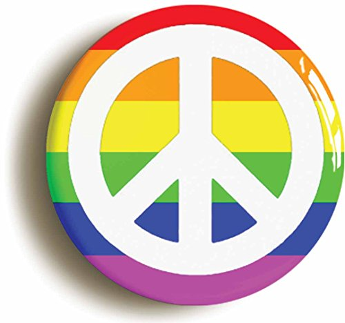 Rainbow Peace Badge Button Pin Size Is 1inch25mm Diameter Lgbt