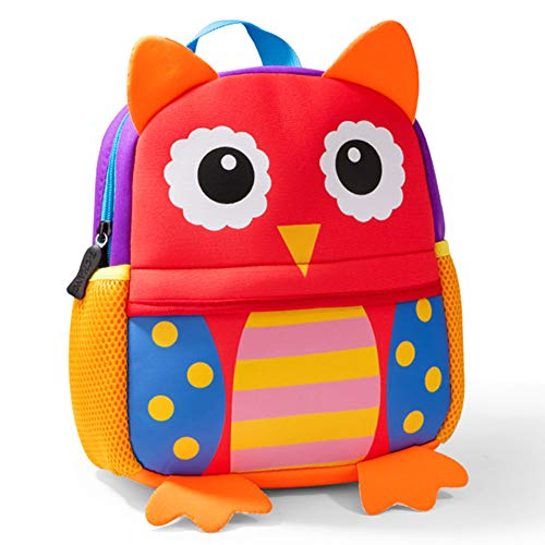Cute Toddler Backpack Toddler Bag Plush Animal Cartoon Mini Travel Bag for Baby Girl Boy 2-6 Years, Owl Large