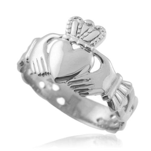 Bold 14k White Gold Men's Trinity Knot Band Irish Claddagh Ring (10)