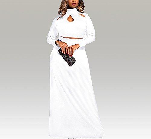 De la Mujer Plus Tamaño Top de danza Midi falda traje dos piezas larga Boho Maxi Vestido Blanco