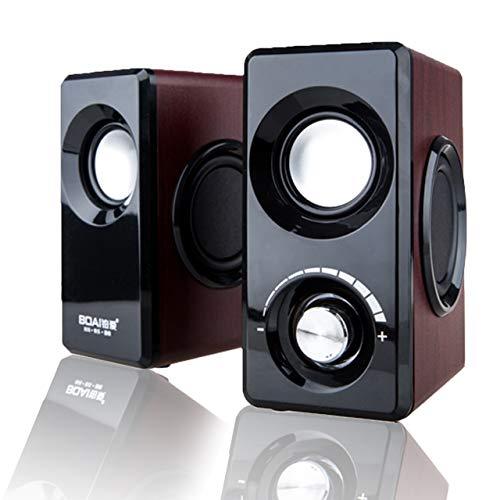 [해외]フェリモア PC 스피커 나무 스피커 2.0 Hi-Fi USB 전원 3.5 mm 플러그 중 저음 (브라운 * 블랙) / Felimore PC Speaker Wooden Speaker 2.0Hi-Fi USB Power Supply 3.5mm Plug Heavy Bass (Brown x Black)