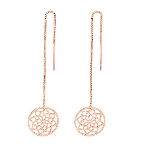 - SENFAI Filigree Flower Seed of Life Symbol Charms Adjustable Long String Earrings 3 Tone (Rose Gold 1)