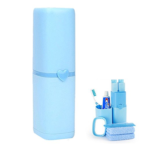 able Gargle Cup Travel Toothbrush Holder Case with 2 70ML Bath Wash Shampoo Sub-Bottles, 1 Small Mirror, 1 Comb Blue ()