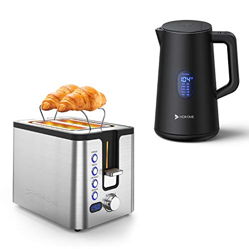 Hosome Toaster 2 Slice with Double Wall Electric Kettle.Silver+Black